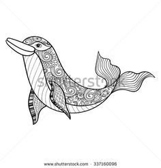Zentangle Vector Sea Dolphin For Adult Anti Stress Coloring Pages Ornamental Tribal Patterned Illustration
