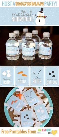 Fun Printables and easy snacks to host a Snowman Party!