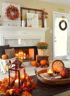 Rust-colored Fall Fireplace Decor Idea - 14 Cozy Fall Fireplace Decor Ideas to S. - Rust-colored Fall Fireplace Decor Idea – 14 Cozy Fall Fireplace Decor Ideas to Steal Right Now - Thanksgiving Decorations, Seasonal Decor, Holiday Decor, Hosting Thanksgiving, Decorating For Thanksgiving, Thanksgiving Mantle, Thanksgiving Crafts, Happy Thanksgiving, Fall Home Decor