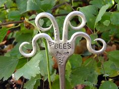 BEE'S Funky fork - garden marker - twisted fork tines - hippie garden - Whispering Metalworks