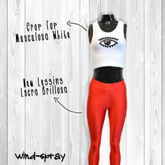 CropTop Musculosa White New Legging Lycra Brillosa - Red