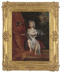 Portrait of young boy, full-length, seated in a white gown and grey wrap before an orange curtain with a landscape beyond, a bird flying before him