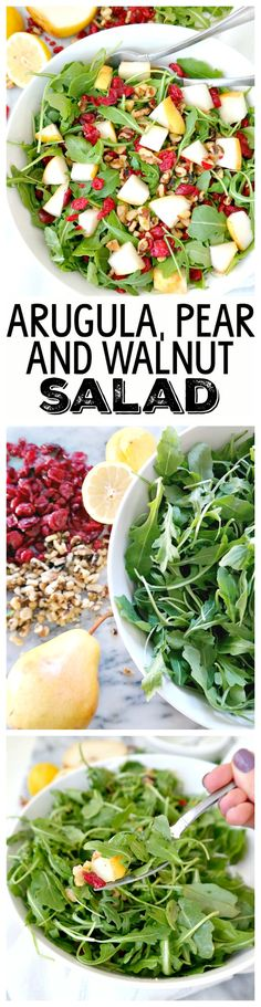 Arugula, Pear & Walnut Salad with a simple lemon dressing. Quick, balanced, seasonal, easy and so delicious! My new go-to everyday salad but perfect for holiday parties too. From The Glowing Fridge. Pear Recipes, Raw Food Recipes, Salad Recipes, Vegetarian Recipes, Cooking Recipes, Healthy Recipes, Arugula Recipes, Pear Walnut Salad, Pear Salad