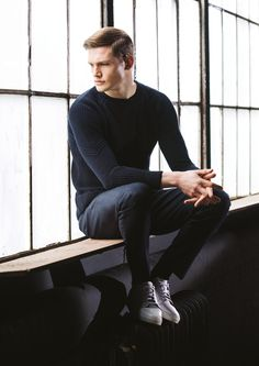 Patterned, dark navy winter jumper and blue jeans by Remus Uomo Olympia London, Winter Jumpers, Dark Navy, Blue Jeans, Mens Fashion, Style Fashion, Fashion Brands, Normcore, Menswear