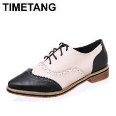 Oxford Shoes for Women 2016 Women Shoes Leather Brogues Pointed Toe Lace Up Woman Oxfords Women Flats XWR0024-5