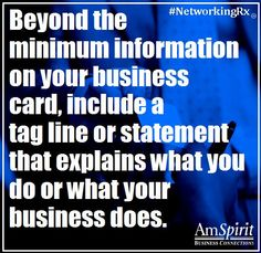 #NetworkingRx: What is your business tag line?