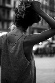 Neck is another great placement for script tattoos.