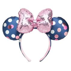 This listing is for one Brand New Disney Parks Minnie Mouse Navy Blue Polka Dot Ears Pink Sequin Bow Headband All of our items are brand new with tags and purchased directly from the original retailer, so buy with confidence! Disney Mickey Ears, Pink Minnie, Mickey Minnie Mouse, Disney Mouse, Disney Ears Headband, Ear Headbands, Minnie Mouse Headband, Disney Headbands, Diy Y Manualidades
