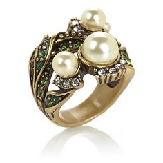 """Heidi Daus """"Lovely Lily of the Valley"""" Simulated Pearl Crystal-Accented Ring at HSN.com"""