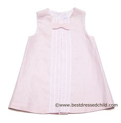 LOVE this 100% linen dress for a beach wedding! So elegant. Luli & Me Infant / Toddler Girls Pink Linen Sleeveless Dress with White Lace and Bow