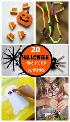 Halloween Fine Motor Activities - fun Halloween ideas that work on fine motor…