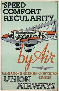 Speed comfort regularity by air; Union Airways, 1936-1939, Relief print