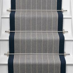 Roger Oates Dart Midnight wool herringbone stair runner carpet fitted with Brushed Chrome stair rods in Marleybone London Carpet Staircase, Staircase Runner, Hallway Carpet, Wall Carpet, Diy Carpet, Carpet Flooring, Carpet Ideas, Stair Runners, Basement Carpet