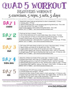 Quad 5 Workout for Beginners - Use this schedule for the workout Jar: Cardio, Arms, Legs, Total Body, & Abs.