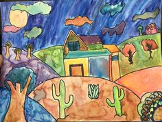The 6th Grade Landscape Terms/concepts: atmospheric perspective-foreground-middle ground-background-overlap-color mixing howardkanter.com