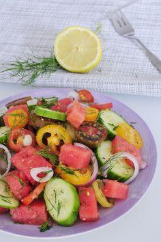 Heirloom Tomato Salad Recipe with Watermelon and Dill - Vegan Family Recipes