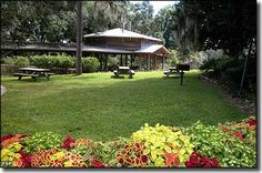 Ravine Gardens State Park: A picnic pavilion and tables in the park