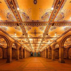 Central Park - The Minton tile ceiling in the arcade of the Bethesda Terrace was designed by British-born architect and designer, Jacob Wrey Mould, in the 1860s by @dario.nyc NewYorkCityFeelings.com The Best Photos and Videos of New York City including the Statue of Liberty, Brooklyn Bridge, Central Park, Empire State Building, Chrysler Building and other popular New York places and attractions
