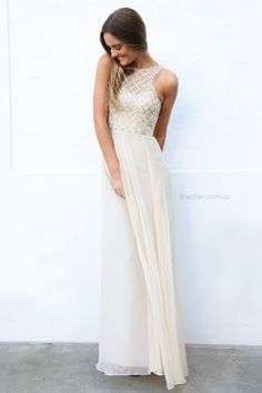 elegant ivory and metallic maxi dress