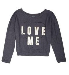 This new french terry sweater from Modern Lux has laser cut outs in the shape of a heart <3  Available at dELiA*s!