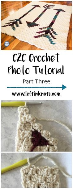This photo tutorial will teach you the C2C stitch using half double crochet.  Learn how to finish your c2c blanket. This video was recorded to support my Fallen Arrows Blanket CAL, a free crochet pattern available at Left in Knots