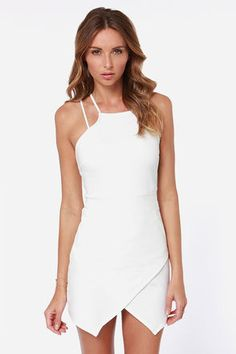 modern white bodycon dress