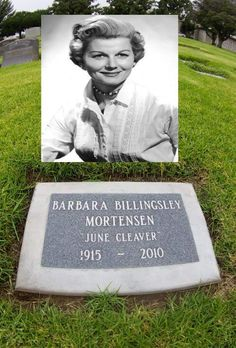 Best known as June Cleaver. Billingsley died of polymyalgia at the age of Cemetery Statues, Cemetery Headstones, Old Cemeteries, Cemetery Art, Angel Statues, Graveyards, Grave Monuments, Gardens Of Stone, Famous Tombstones