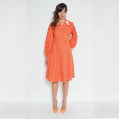 Vintage 70 ' s Polka Dot Orange manches longues robe