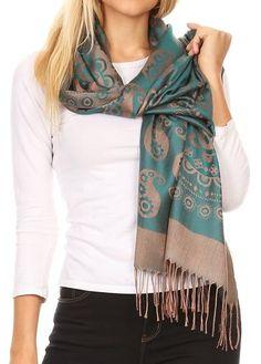 How To Wear Pashmina, Ways To Wear A Scarf, How To Wear Scarves, Pashmina Shawl, Paisley Scarves, Work Fashion, Women's Fashion, Fashion Tips, Shawls And Wraps