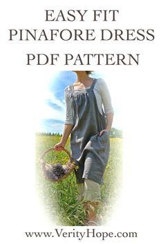Easy Fit pinafore dress sewing pattern pdf by VerityHope on Etsy, £7.50 (Instant Download)