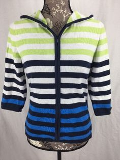 Christopher & Banks Small Sweater Hoodie 3/4 Sleeves White Blue green Stripes  | eBay