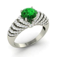 Engagement Ring In Solid 14k White Gold With 2.01 Cttw Emerald & SI Diamond #Diamondere #SolitaireWithAccent #Engagement