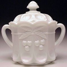 Westmoreland Glass Cherry Pattern Original White Milk Glass Covered Cookie Jar