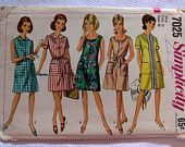 1960s Simplicity 7025 Sewing Pattern for shifts