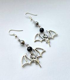 Gothic Filgree silver bat earrings by MetalLiquor on Etsy