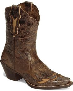 Ariat Brown Dahlia Wingtip Cowgirl Boot - Snip Toe