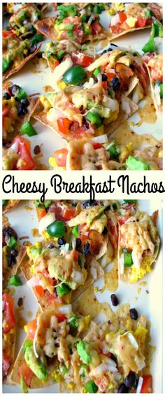 These Cheesy Breakfast Nachos are topped with scrambled eggs, bacon, tomatoes, bell peppers, onions, chipotle cheddar, and black beans. Great for brunch, or a party! #BrunchWeek