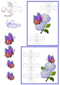 - A stitching pattern (or piercing) card front in two sizes with Hydrangeas and butterfly decoupage. Embroidery Cards, Embroidery Patterns, Hand Embroidery, Card Patterns, Stitch Patterns, Art Carte, Sewing Cards, Parchment Craft, Bird Cards