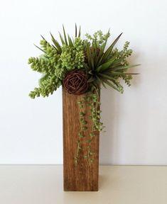 Modern Succulent Arrangement in Brown Wood by ArtsFloralDesign, $44.00: