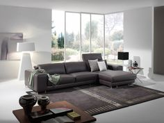 Modern living room design with leather couch