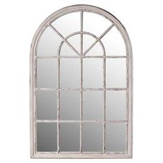 Wall mirror with a venetian window-inspired design.Product: Wall mirrorConstruction Material: Wood and mirrored glassColor: White wash Dimensions: 59 H x 39 W Cleaning and Care: Wipe with dry cloth