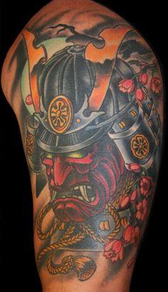 Japanese Samurai Mask Tattoos | eyecatchingtattoos.com