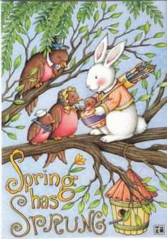 Spring Has Sprung Bunny Brush Quiver Robins Fridge Magnet Mary Engelbreit Art | eBay