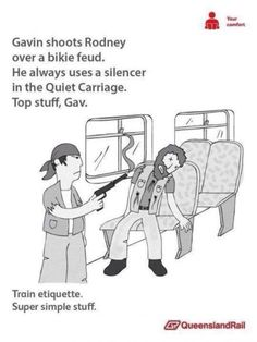 See more 'Queensland Rail Etiquette Posters' images on Know Your Meme! Stupid Funny Memes, You Funny, Hilarious, Funny Stuff, Random Stuff, Funny Things, Best Memes, Dankest Memes, Australian Memes