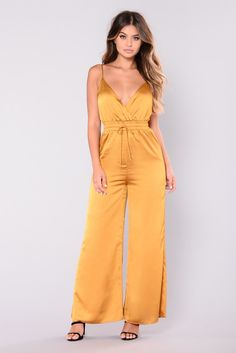 daa5885bf694 Kya Satin Jumpsuit - Mustard Fashion Nova Jumpsuit
