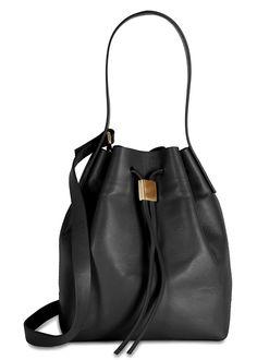 Handmade Gvyn black leather bucket bag Top handle, detachable adjustable shoulder strap, designer stamp, gold hardware, fully lined Drawstring top Comes with a dust bag