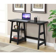 Clay Alder Home Convenience Concepts Trestle Oak/Black/White/Espresso/Cherry/Off-white (Beige) Wood Desk Furniture, Home Office Furniture, Home, Furniture Deals, Wood Desk, Contemporary Decor, Furniture Outlet Stores, Trestle Desk, White Wood Desk