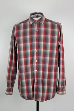 TOMMY BAHAMA MENS SMALL P LS BUTTON FRONT SHIRT RED GRAY WHITE CHECK CASUAL  #TommyBahama #ButtonFront