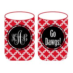 Again, 2 things I adore: a good monogram & Gameday accessories. Darling koozies customizable for any SEC team. $12   #UGA