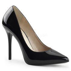 b0ec08bc0d61 Pleaser Shoes Amuse-20 Black Patent Hidden Platform Court Shoes Black Heels